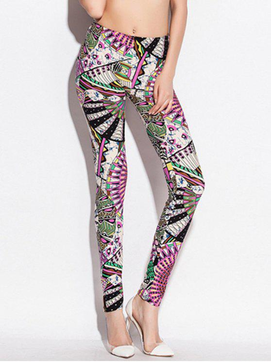 outfit Skinny Elastic Waist Big Pinwheel Print Leggings - COLORMIX ONE SIZE