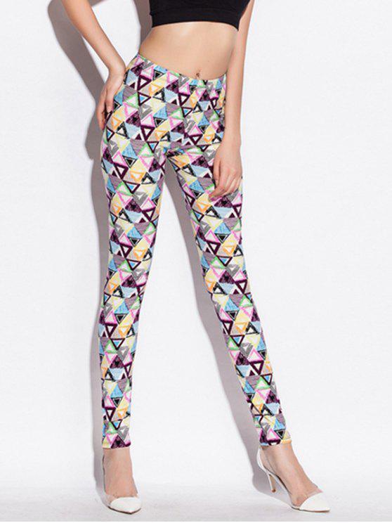 Magro vita alta Leggings con stampa geometrica - colori misti Taglia unica
