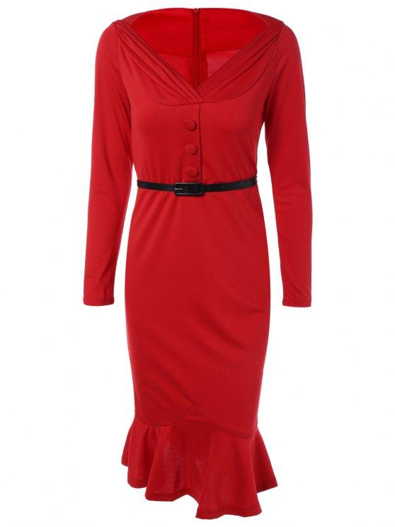 Vestido Ajustado Con Cinturón Olanes Red