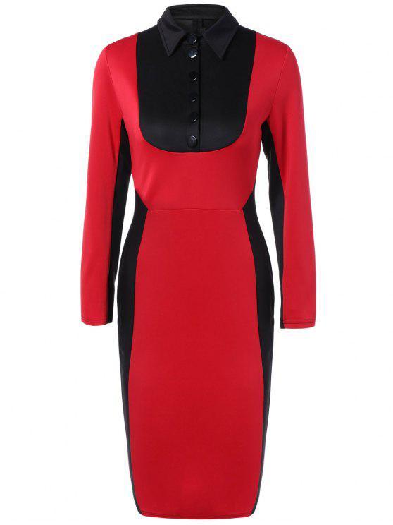 فستان ضيق كتلة اللون - أحمر L