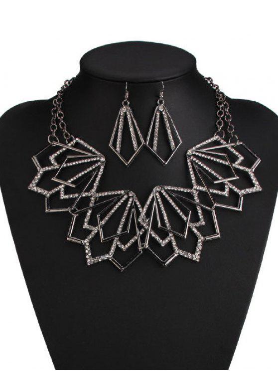 Aleación de collar y pendientes geométrica del Rhinestone - Negro