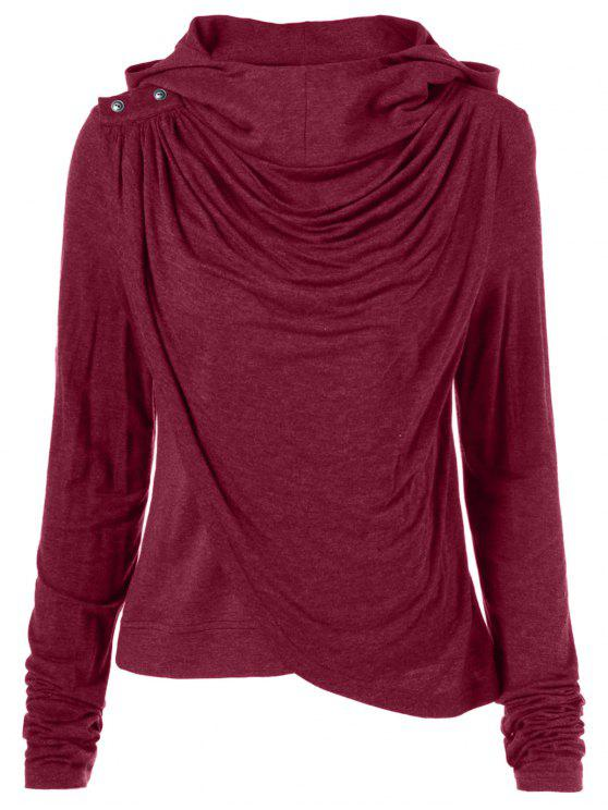 fancy Draped Hoodie - WINE RED M