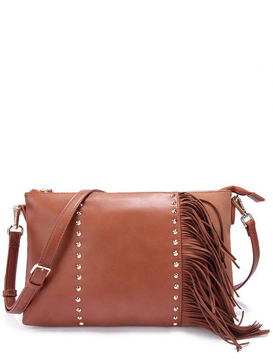 buy PU Leather Rivet Fringe Crossbody Bag - BROWN