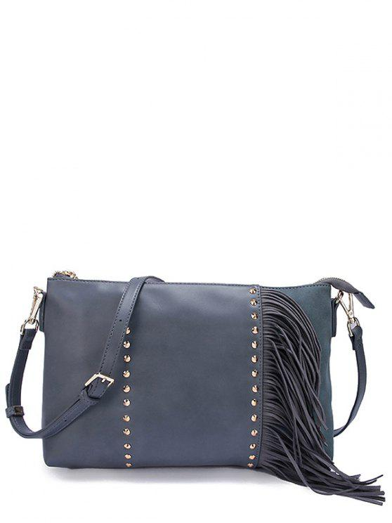 women PU Leather Rivet Fringe Crossbody Bag - BLUE