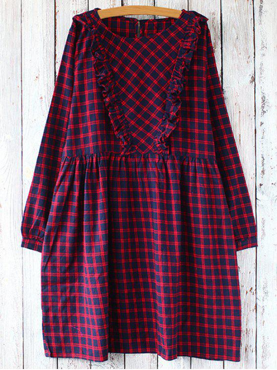women Plaid Long Sleeve Smock Dress - RED WITH BLACK ONE SIZE
