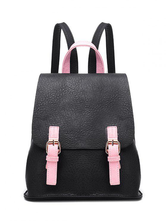 sale Buckle Strap Textured PU Leather Backpack - BLACK