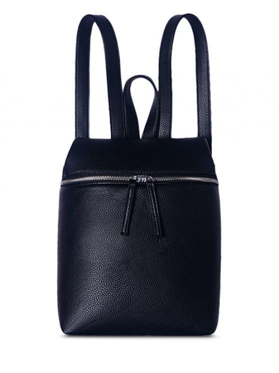 ladies Zip Textured PU Leather Backpack - BLACK