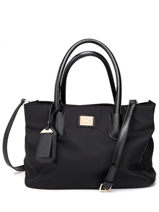 shop Pendant PU Leather Spliced Nylon Tote Bag - BLACK