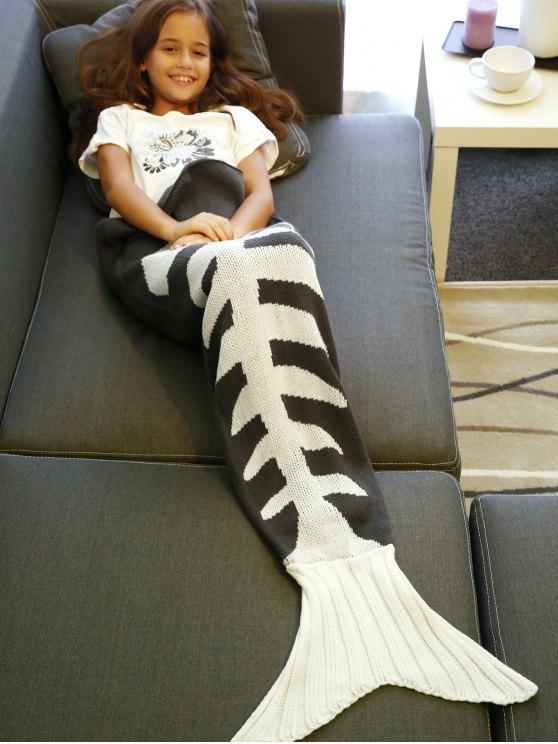 Fish Bone de punto Manta de cola de la sirena - Gris y negro L