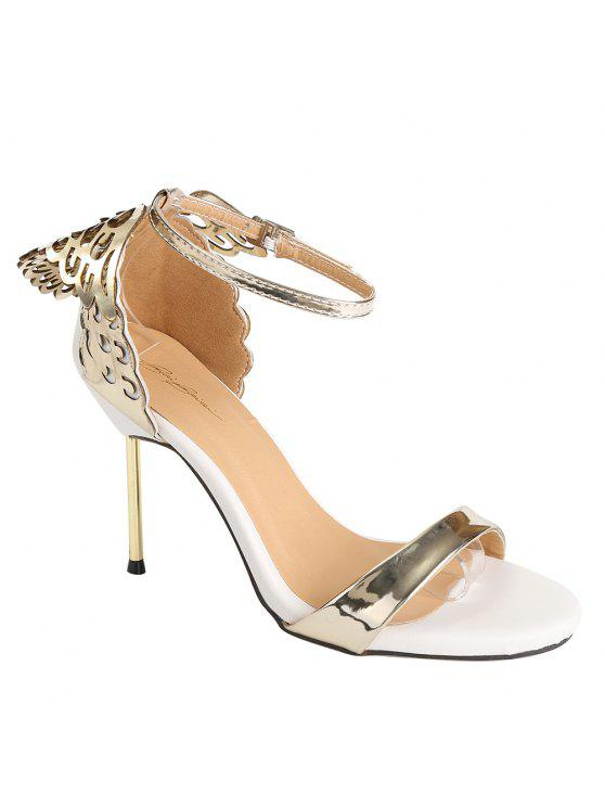 fashion Wings Hollow Out Stiletto Heel Sandals - GOLDEN 35