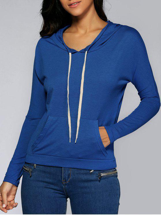 Sudadera con Capucha Diseño con Bolsillo Delantero - Azul Zafiro L