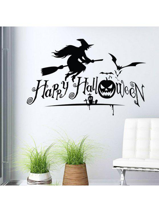 fashion Waterproof Happy Halloween Pumpkin Witch Room Wall Sticker - BLACK