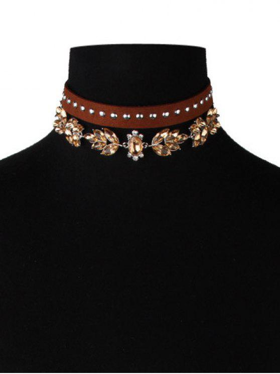 latest Faux Leather Velvet Rivets Crystal Chokers - BROWN