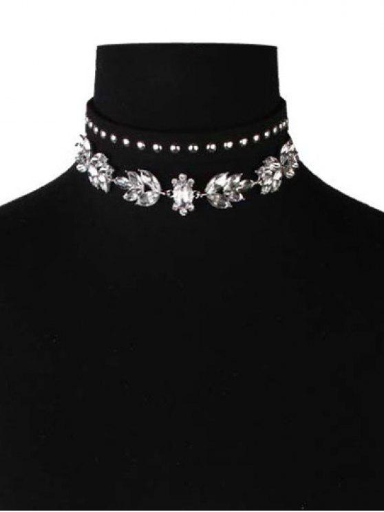 trendy Faux Leather Velvet Rivets Crystal Chokers - BLACK
