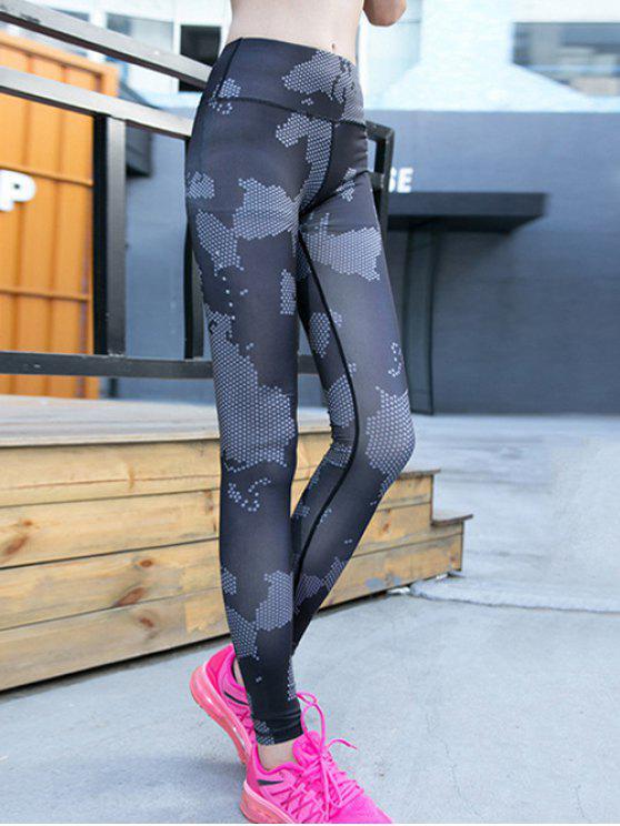women Elastic Waist Running Leggings - GRAY S