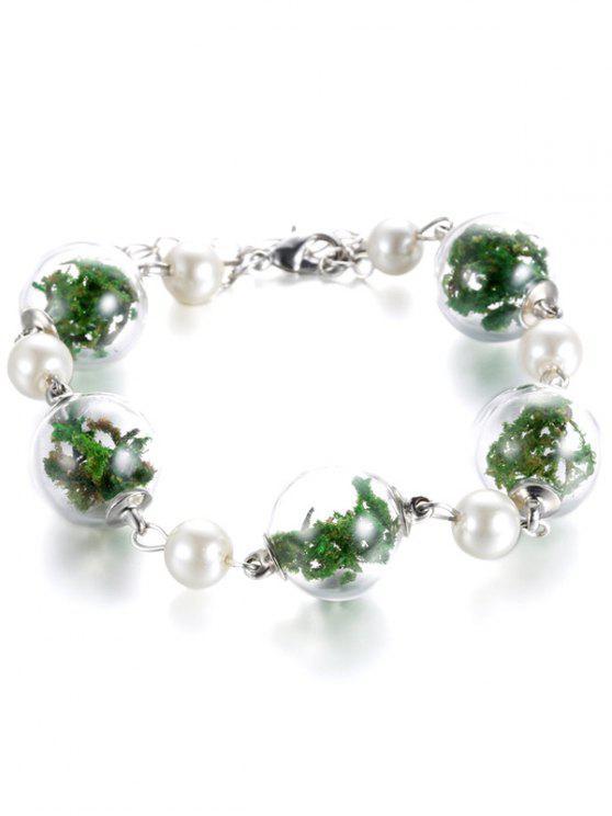 Brazalete de perlas de imitación de planta seca de cristal - Verde