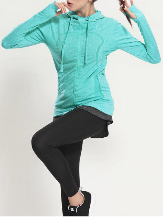 chic Zip Through Sports Hoodie - MINT GREEN S