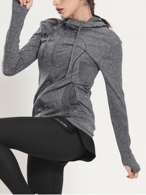 fancy Zip Through Sports Hoodie - GRAY M