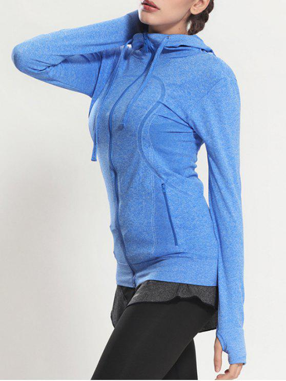 affordable Zip Through Sports Hoodie - BLUE M