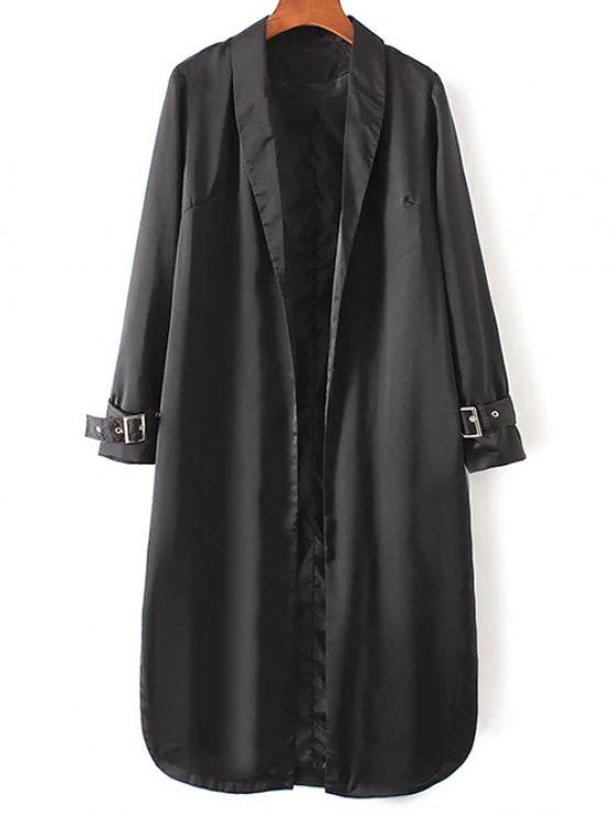 ladies Embroidered Back Trench Coat - BLACK M