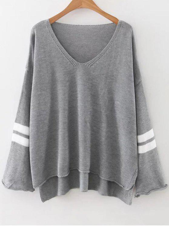 outfits Side Slit Oversized Sweater - GRAY ONE SIZE