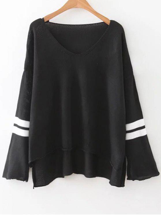 shops Side Slit Oversized Sweater - BLACK ONE SIZE
