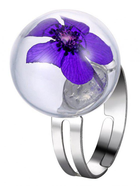 ladies Dry Flower Glass Ball Cuff Ring - PURPLE ONE-SIZE