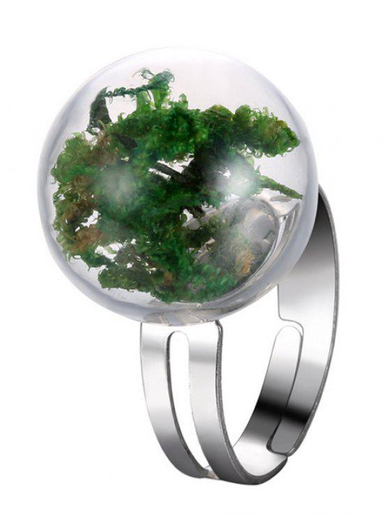 online Dry Plant Glass Ball Cuff Ring - GREEN ONE-SIZE