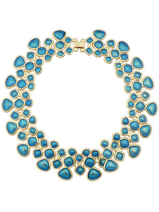 trendy Candy Color Geometric Spelicing Openwork Necklace - BLUE