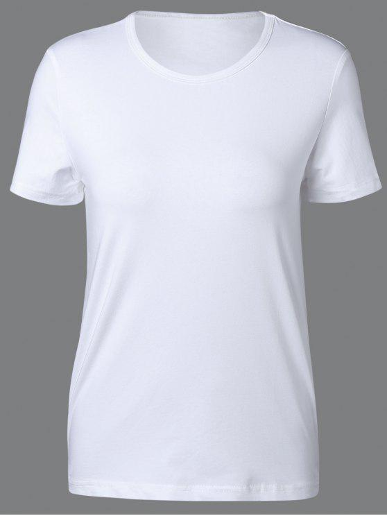 chic Round Neck Short Sleeve T Shirt - WHITE XL