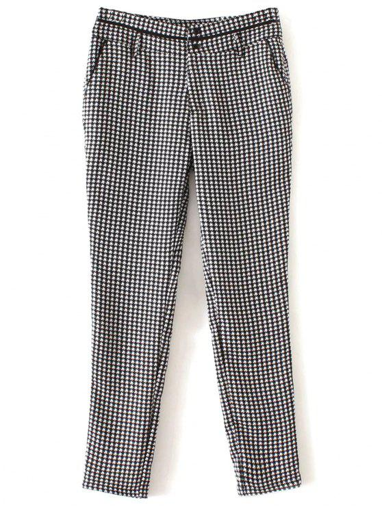 sale Houndstooth Tapered Trousers - WHITE AND BLACK L