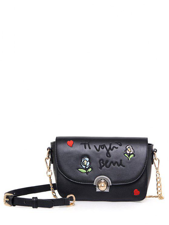 outfits Embroidery Letter Pattern Flowers Crossbody Bag - BLACK