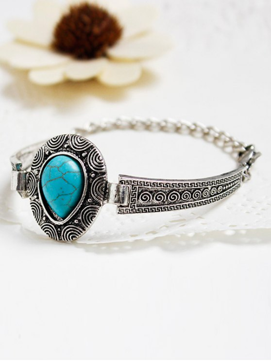 women Faux Turquoise Water Drop Alloy Bracelet - SILVER