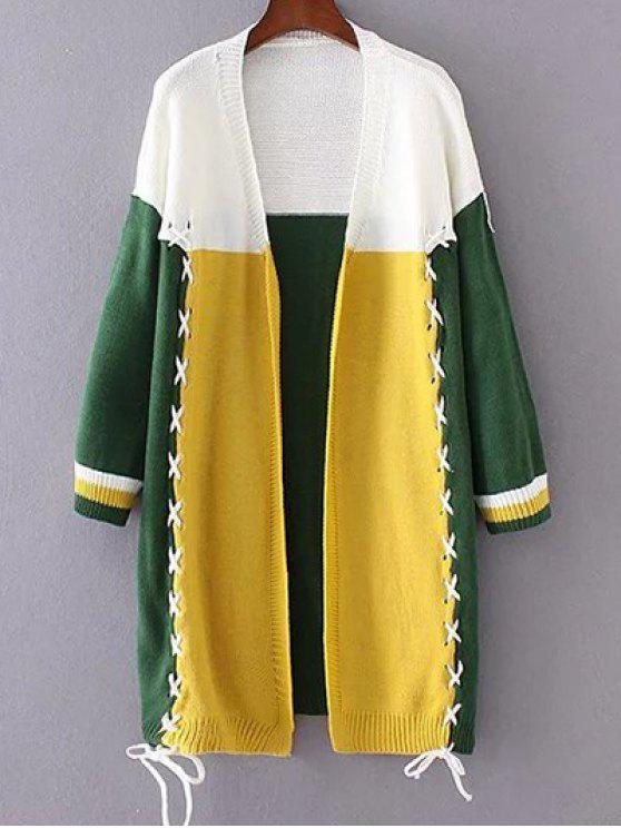 buy Color Block Longline Cardigan - YELLOW ONE SIZE
