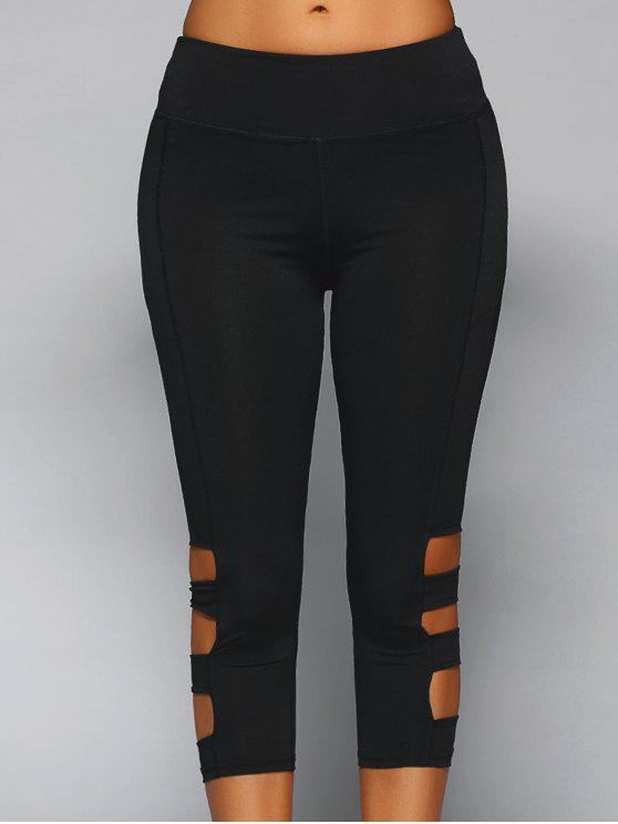 chic Cut Out Capri Leggings - BLACK L