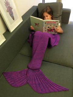 Flounced Knitted Mermaid Tail Blanket - Purple
