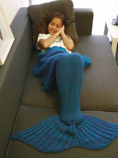 Flounced Knitted Mermaid Tail Blanket - Blue + Purple