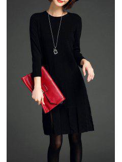 Fringe Knit Long Sleeve Dress - Black