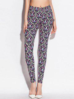 Skinny Elastic Waist Ornate Print Leggings
