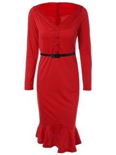 Vestido Ajustado Con Cinturón Olanes - Rojo 3xl