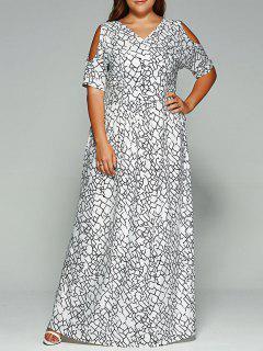 Plus Size Cold Shoulder Maxi Bohemian Dress - White L