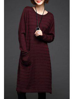 A-Linie Knielangen Pullover Kleid - Weinrot