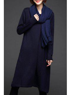 Una Manga Larga Vestido De Punto Line - Azul Marino