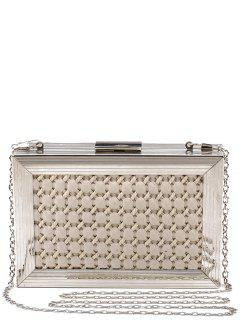 Weaving Metal Trimmed Evening Bag - Off-white
