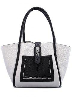 Stitching Hasp Textured Shoulder Bag - White And Black