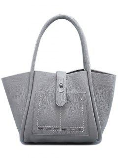 Stitching Hasp Textured Shoulder Bag - Gray