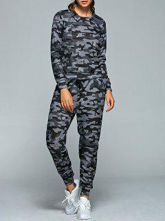 Active Camo Sweatshirt And Jogger Pants - Gray S