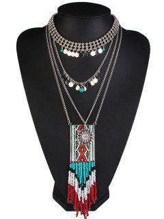 Vintage Geometric Cross Tassel Beaded Necklaces - Blue