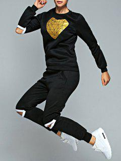 Gold Heart Sweatshirt And Pants Sweat Suit - Black S