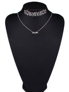 Rhinestone De La Mosca De La Flor De Eagle Wings Collares - Negro
